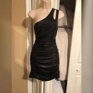 bebe Dresses - Little black pleather dress